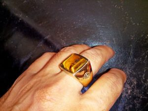 14K Gold Ring with Tiger Eye Gemstone