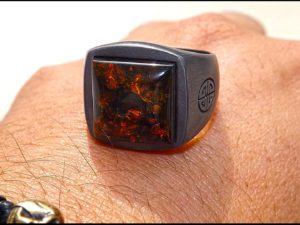 Black Silver Ring With Real Amber