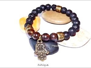 Bronzite and Lava with Hamsa Pendant