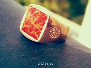Coral Gem – Rose Gold Cover on a Brass Ring