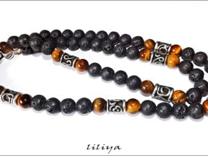 Long Tiger Eye & Lava Necklace