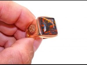 Rose Gold Ring with Real Amber