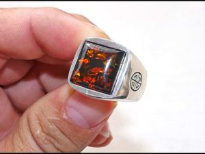 Silver Shiny Ring With Real Amber