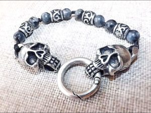 Skull Bracelet with Real Gemstones