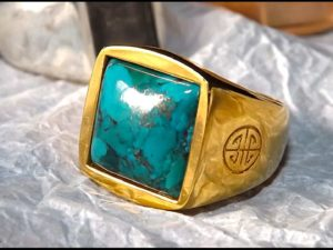 Turquoise Gold Cover Ring