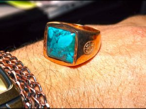 Turquoise Rose Gold Cover Ring