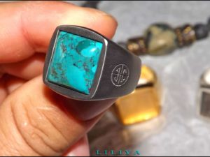 Turquoise Silver Black ring