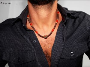 Surfer Necklace with Coral and Hematite Gems